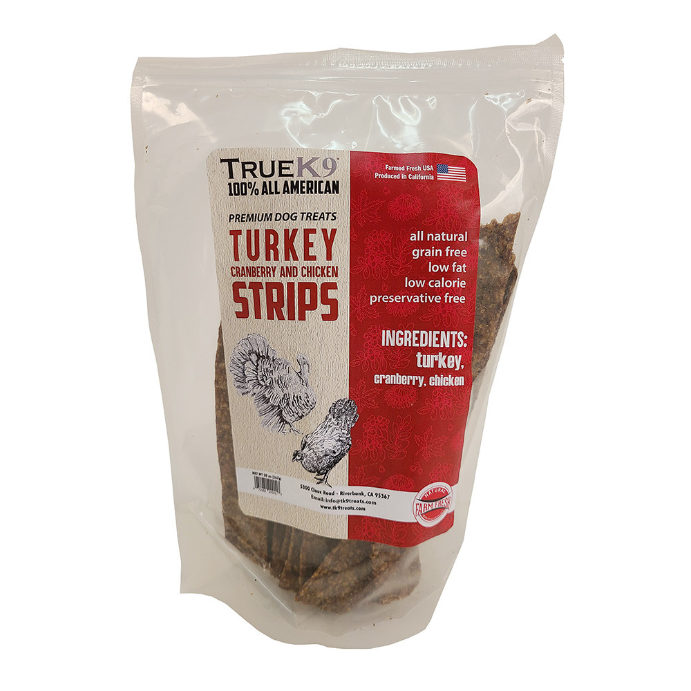click here to shop True K9 Holiday Turkey Jerky with Cranberries Dog Treats