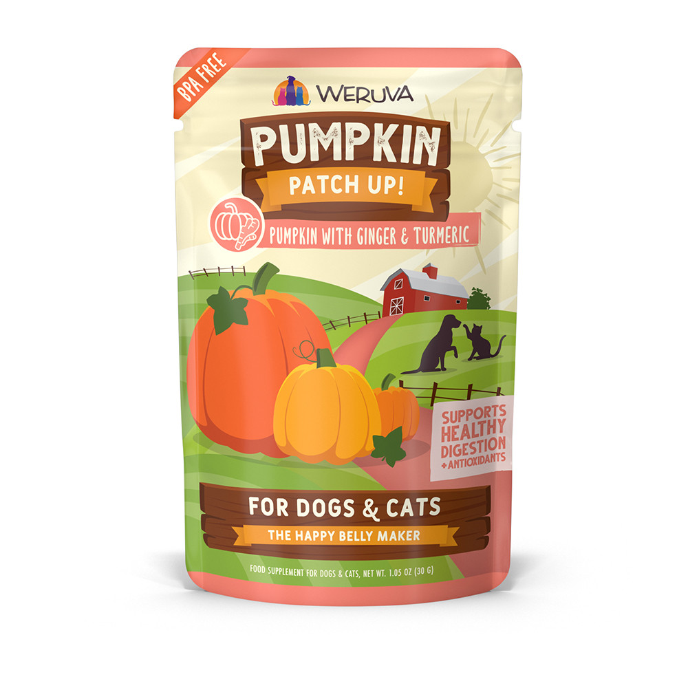 click here to shop Weruva Pumpkin Patch Up! Pumpkin with Ginger & Turmeric Supplement for Dogs & Cats