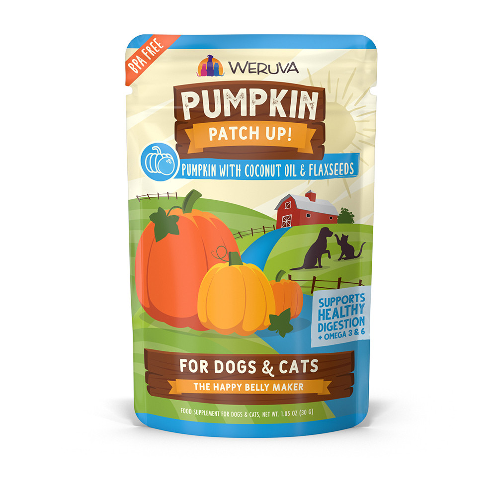 click here to shop Weruva Pumpkin Patch Up! Pumpkin with Coconut Oil & Flaxseeds Supplement for Dogs & Cats