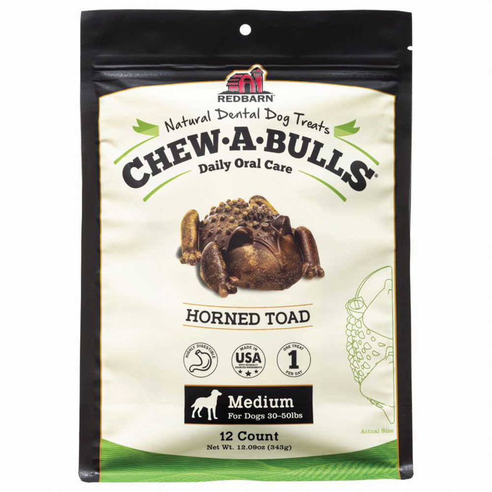 click here to shop Redbarn Chew-A-Bulls Horned Toad Dog Dental Chews