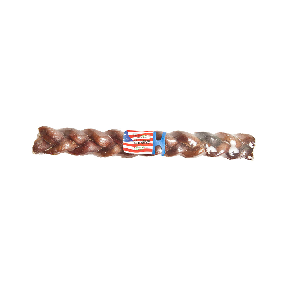 click here to shop Nature's Own Bully Braided Stick Dog Chew Treat