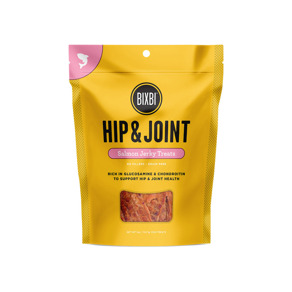 click here to shop Bixbi Hip & Joint Salmon Jerky Dog Treats