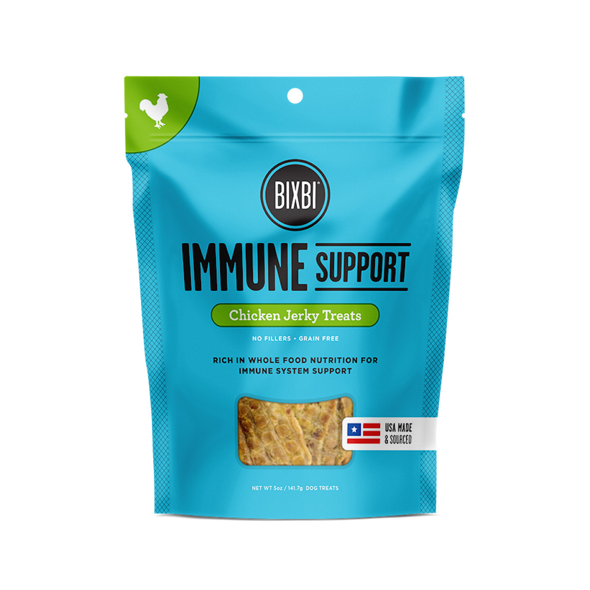 click here to shop Bixbi Immune Support Chicken Jerky Dog Treats