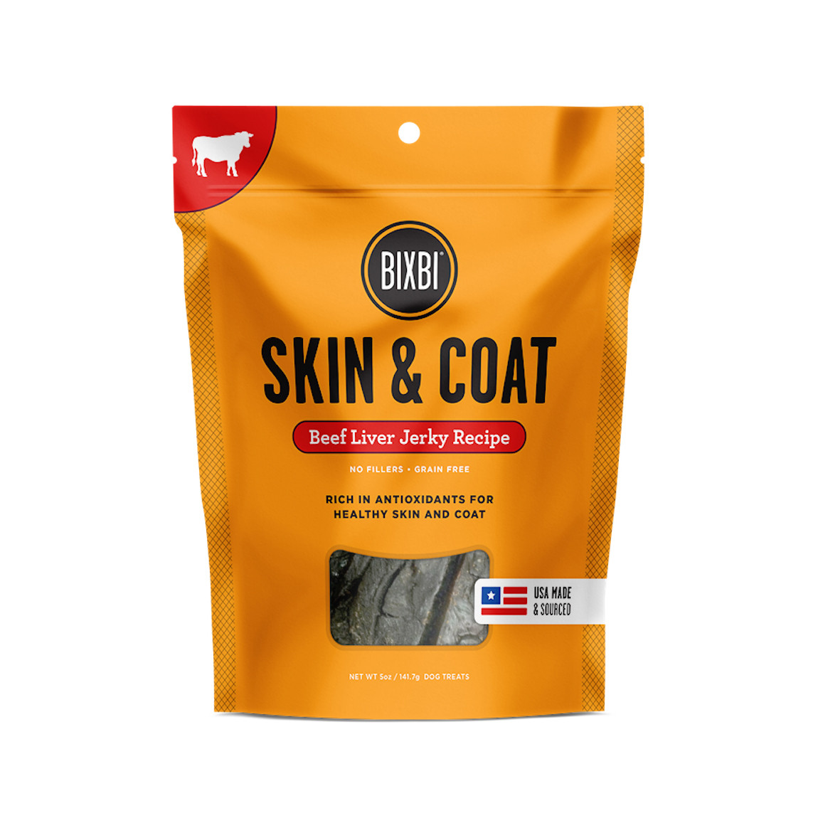 click here to shop Bixbi Skin & Coat Beef Liver Jerky Dog Treats