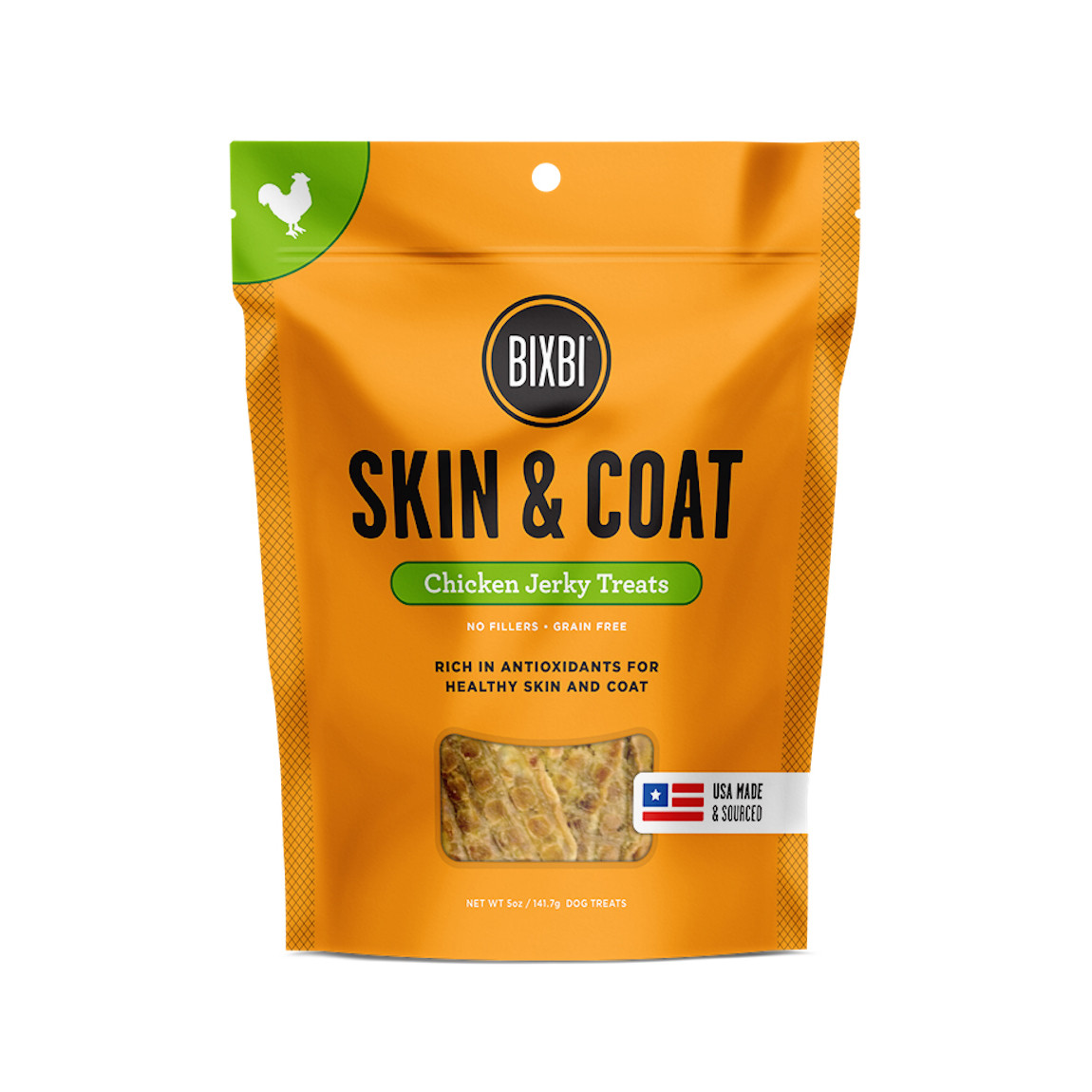 click here to shop Bixbi Skin & Coat Chicken Jerky Dog Treats