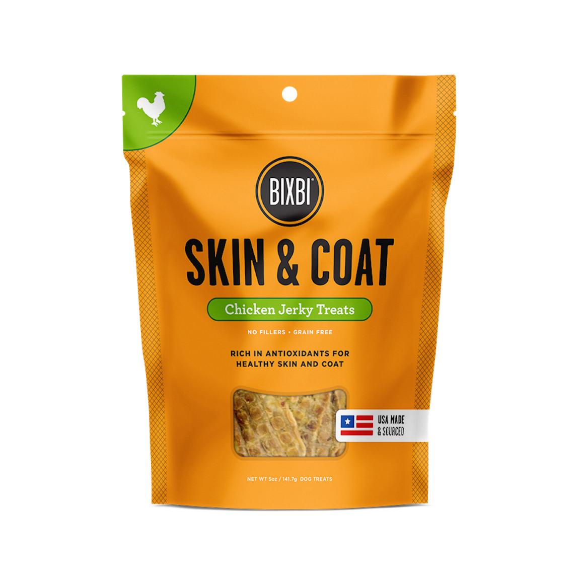 click here to shop Bixbi Skin & Coat Chicken Jerky Dog Treats