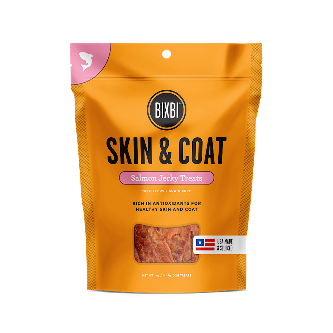 click here to shop Bixbi Skin & Coat Salmon Jerky Dog Treats
