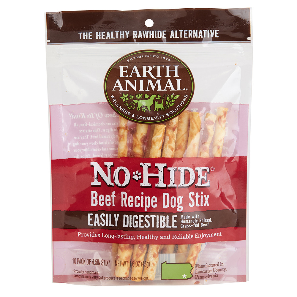 click here to shop Earth Animal No-Hide Beef Stix Dog Chew Treats