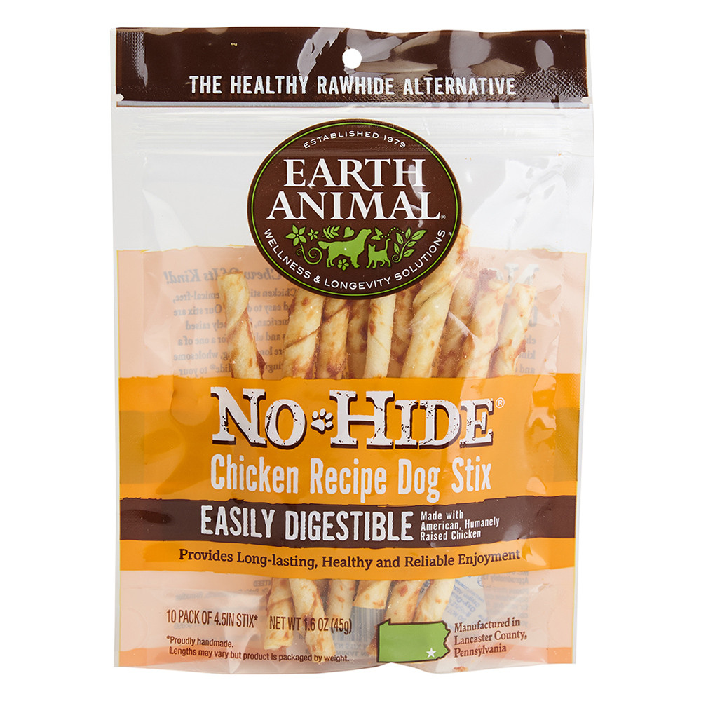 click here to shop Earth Animal No-Hide Chicken Stix Dog Chew Treats.