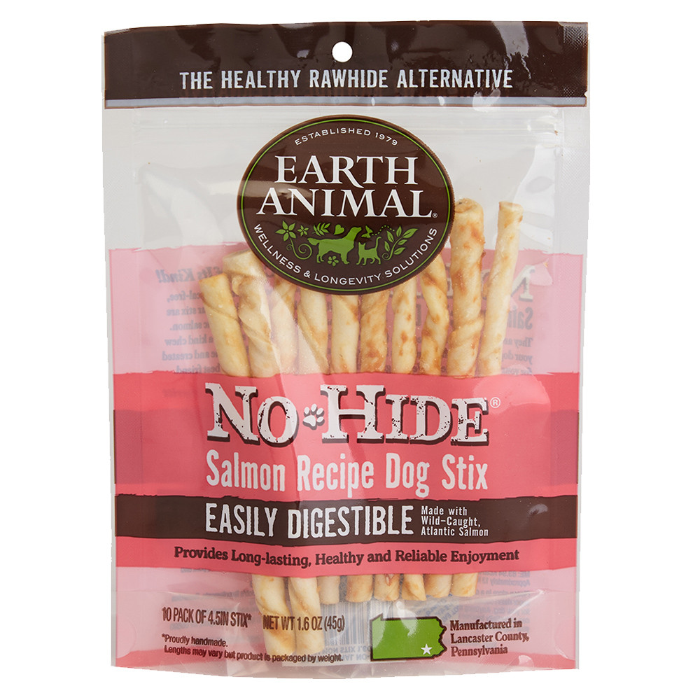 click here to shop Earth Animal No-Hide Salmon Stix Dog Chew Treats