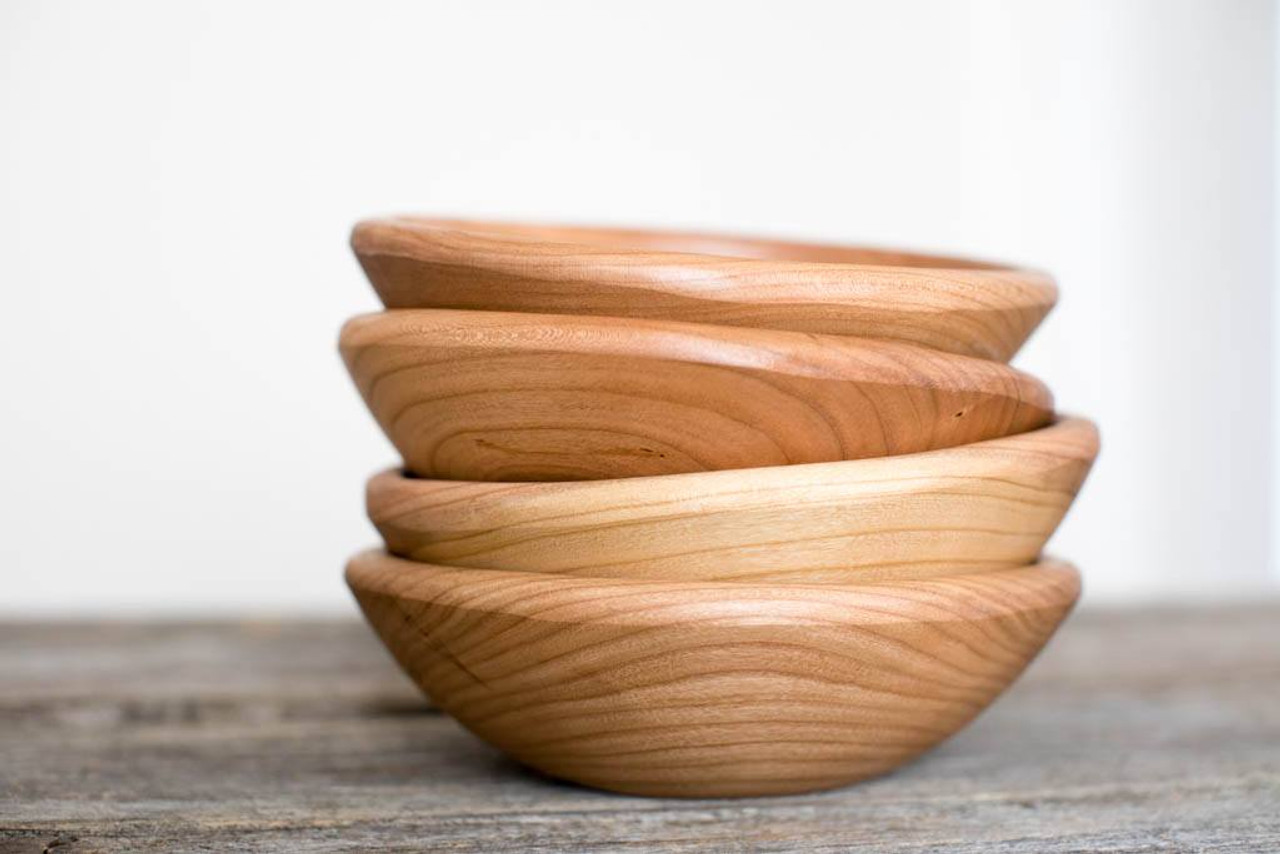 Handmade Wooden Salad Bowl Solid Cherry Small 7