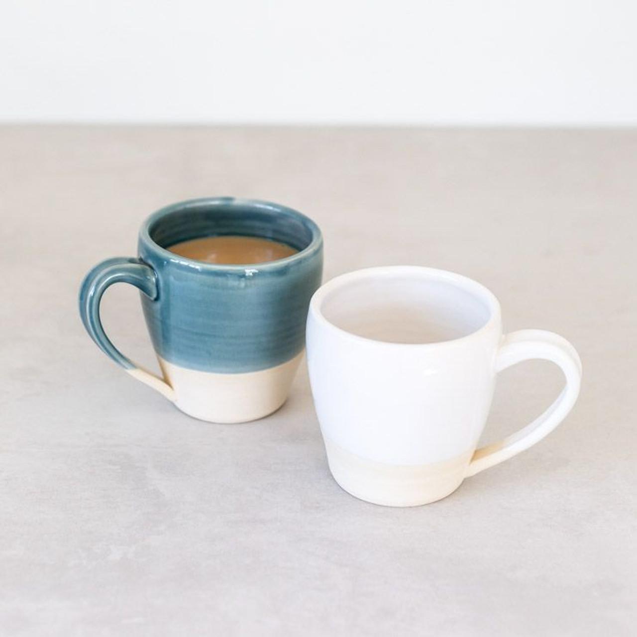 Handmade Ceramic Mug In Pastel Two Tone By Lafayette Avenue