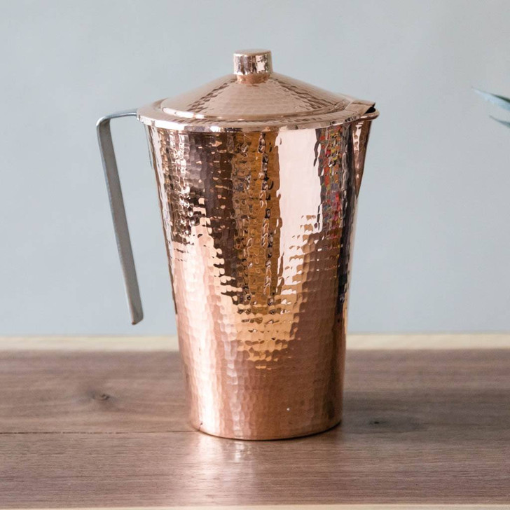 Pure Copper Water Pitcher with Lid by Sertodo Copper (70 ounce Gangotri)