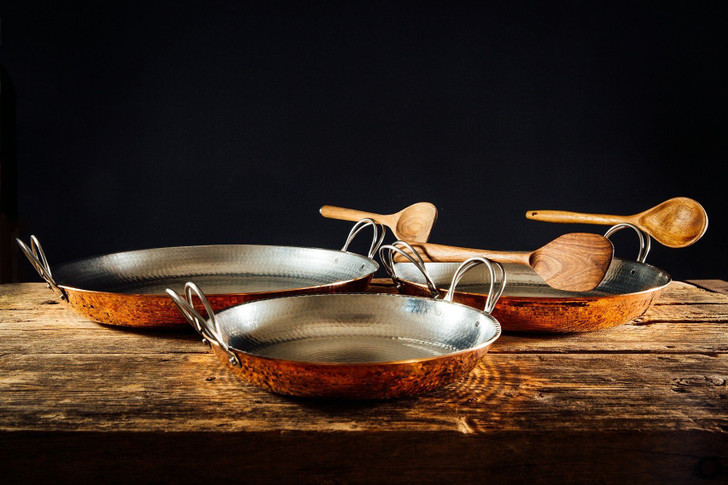 Set of Handmade Hammered Copper Paella Pans by Sertodo Copper
