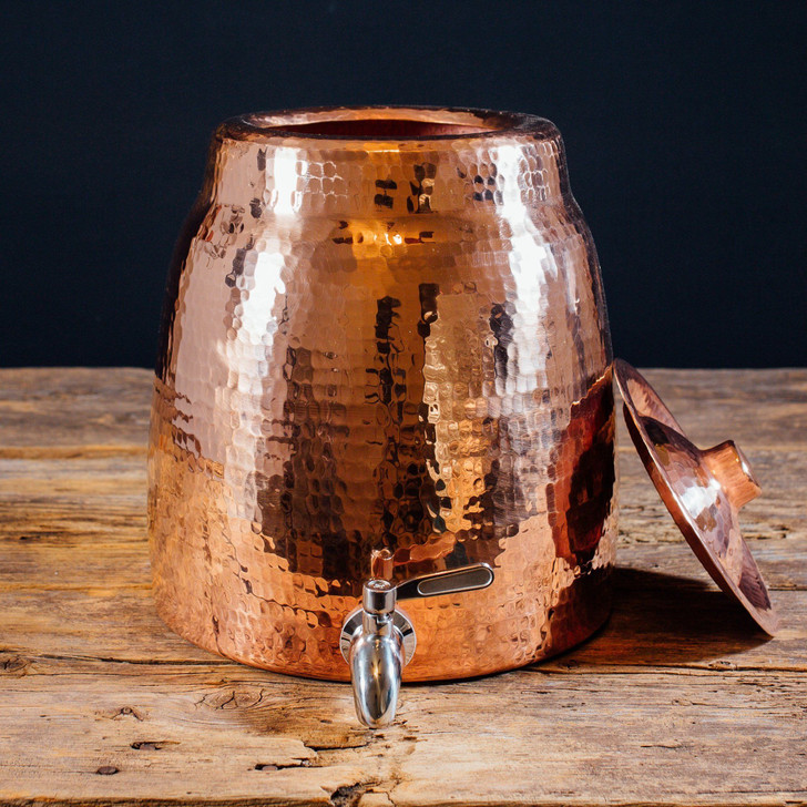 Handmade Hammered Copper Niagara Water Dispenser with Lid by Sertodo Copper