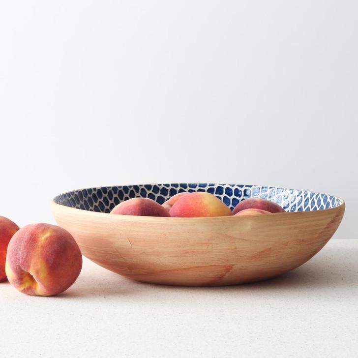 Terrafirma Ceramics Medium Serving Bowl (Cobalt/Taj) with peaches