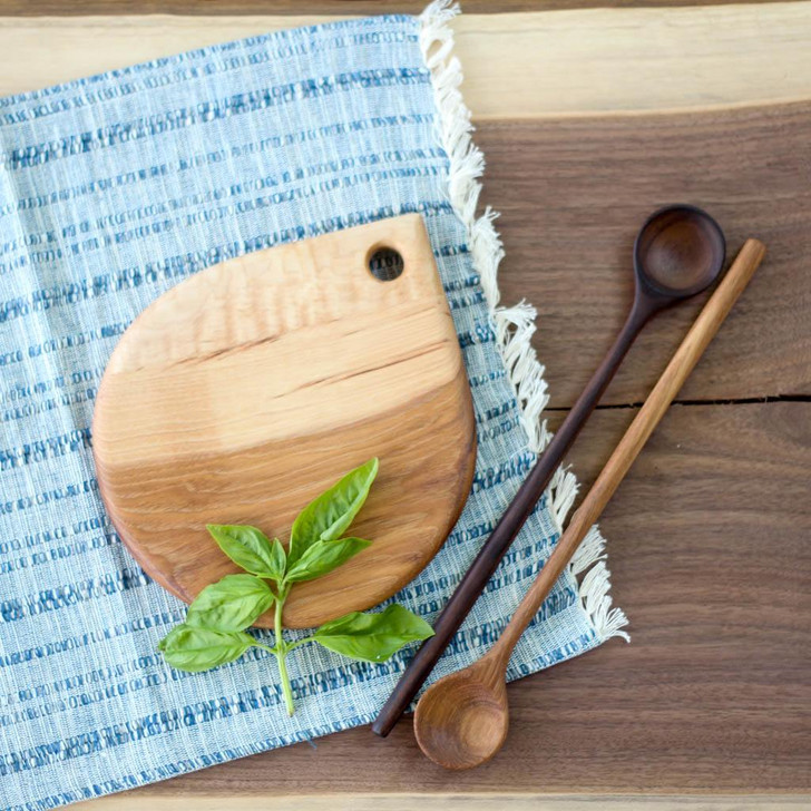Handmade Wooden Cutting Board | the Fig (Hickory and Curly Maple) by Wood and Button
