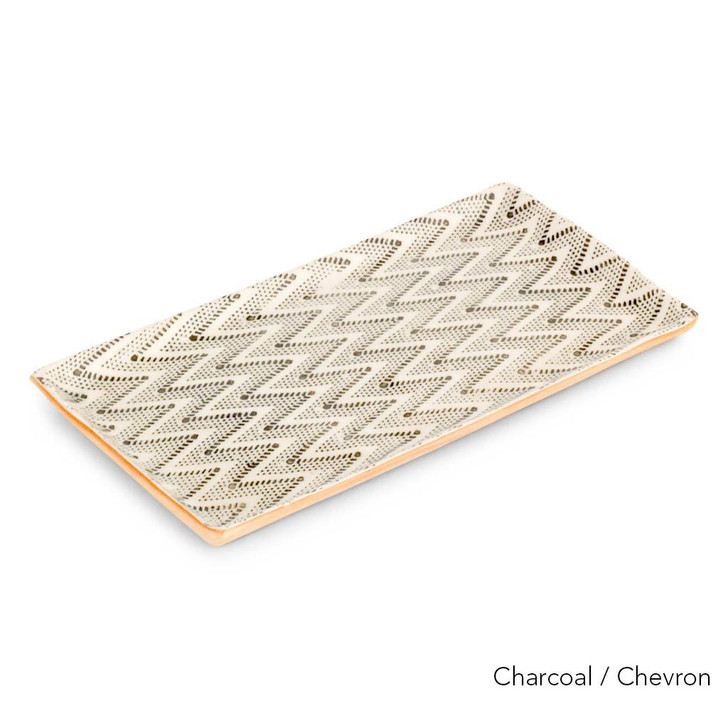 Terrafirma Ceramics - Handmade Ceramic Stacking Serving Platter Chevron Charcoal (Small)
