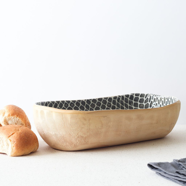 Terrafirma Ceramics Bread Basket (Charcoal/Taj) with bread