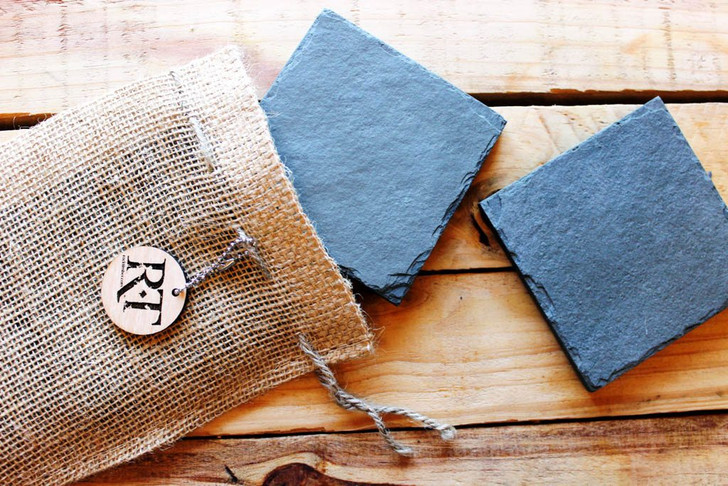 Natural Slate Coasters (Set of 4 - Gray) by Rock Timber