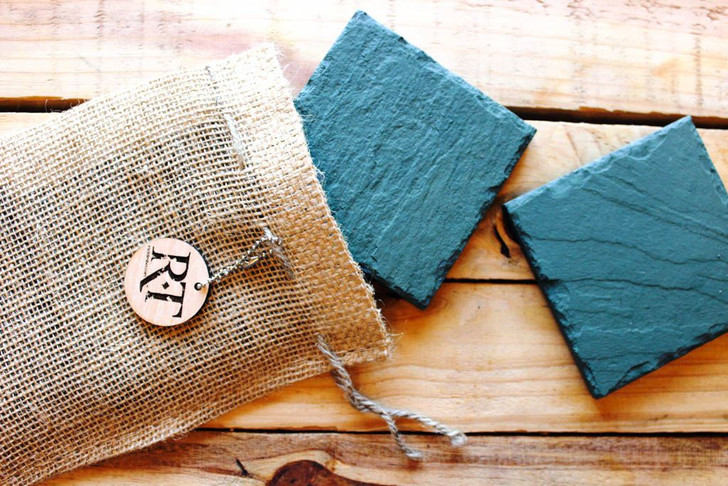 Natural Slate Coasters (Set of 4 - Green) by Rock Timber