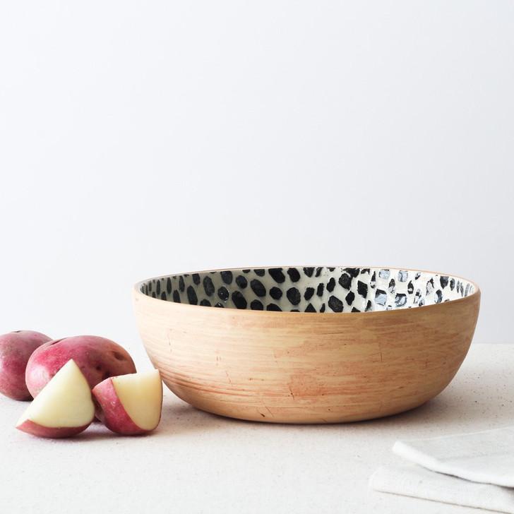 Terrafirma Ceramics  Large Coupe Bowl (Black/Dot)