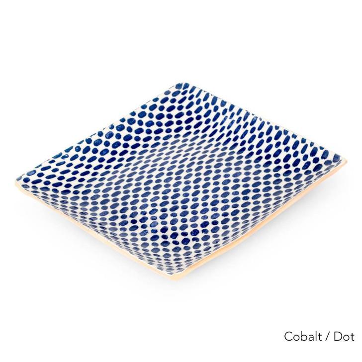 "Terrafirma Ceramics 13"" Square Tray (Cobalt/Dot)"