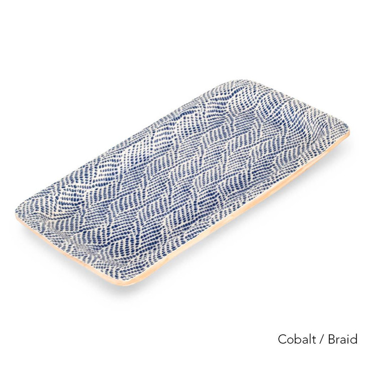 Terrafirma Ceramics Large Rectangle Tray (Cobalt/Braid)