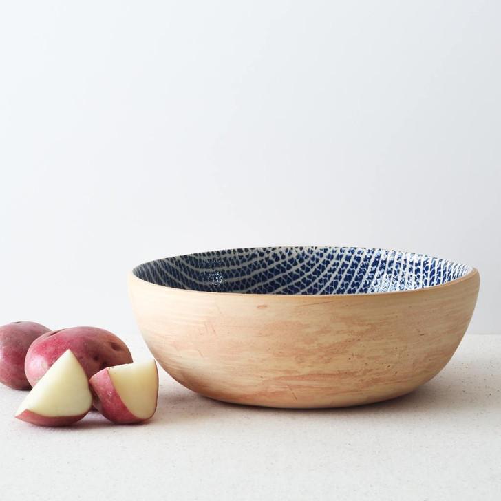 Terrafirma Ceramics  Large Coupe Bowl (Cobalt/Strata) with red potatoes