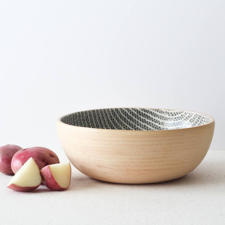 Terrafirma Ceramics Large Coupe Bowl (Charcoal/Strata) with red potatoes