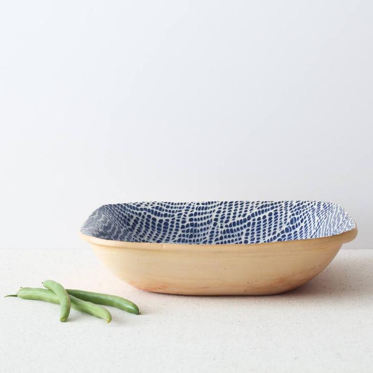 Terrafirma Ceramics - Square Bowl (Cobalt/Braid) with green beans