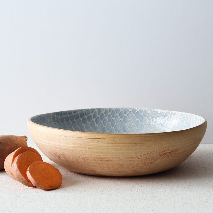 Terrafirma Ceramics Medium Serving Bowl (Opal/Taj) with sweet potatoes
