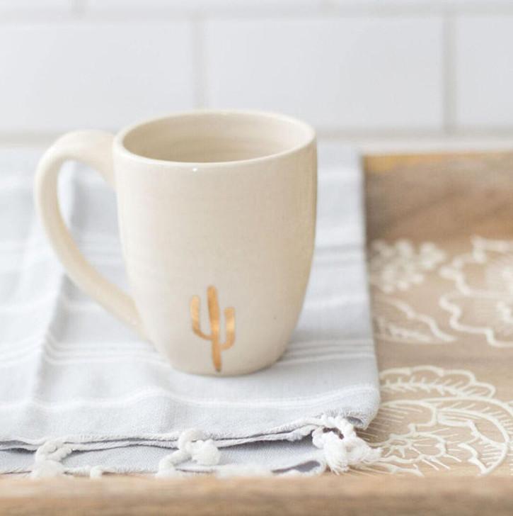 Ceramic Gold Cactus Coffee Mug by Lafayette Avenue Ceramics