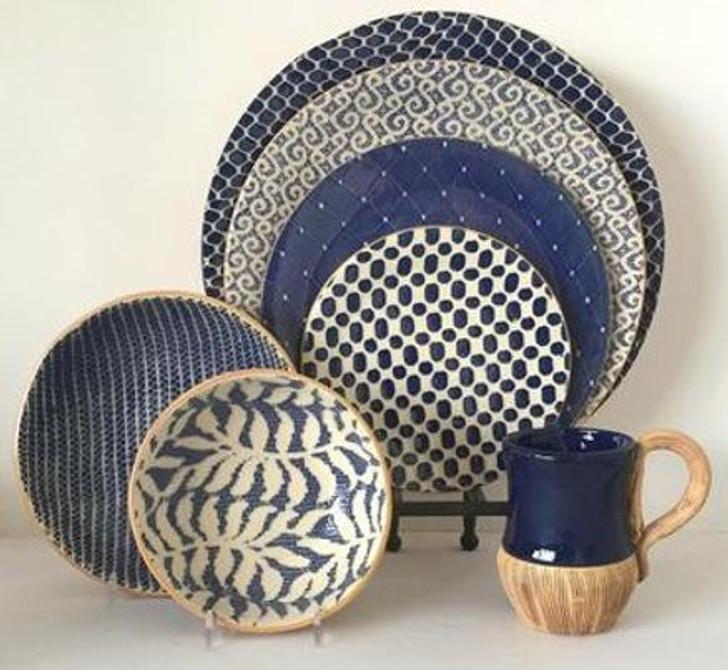 Terrafirma Ceramics Dinnerware  - Charger Plate, Dinner Plate, Salad Plate, Dessert Plate, Soup Bowl (Cobalt)