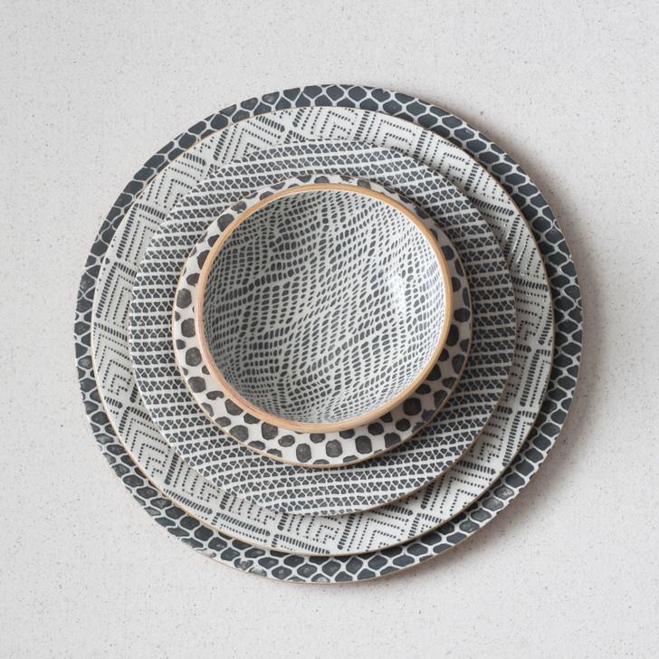 Terrafirma Ceramics Dinnerware  - Charger Plate, Dinner Plate, Salad Plate, Dessert Plate, Soup Bowl (Charcoal)