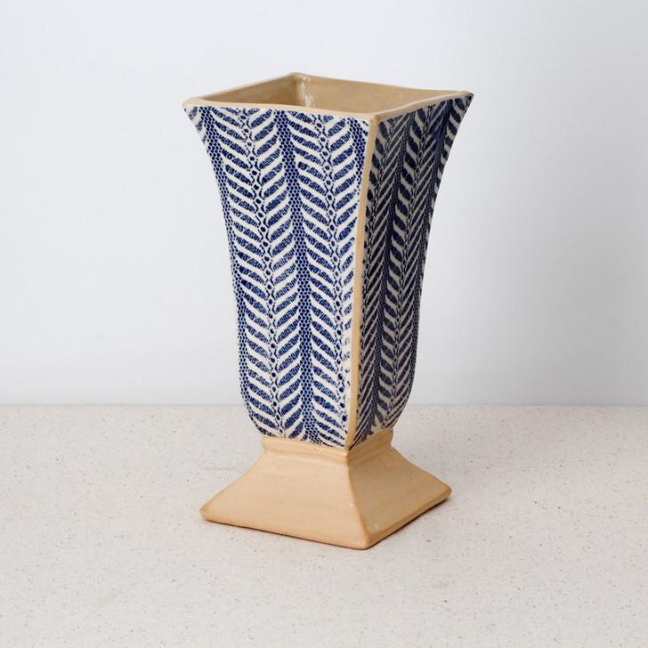 Terrafirma Ceramics Pedestal Vase (Cobalt/Quill)