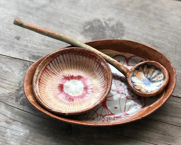 Oval Tray, Catchall and Ceramic Spoon by Spako Clay