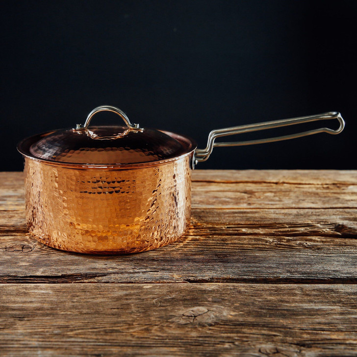 Handmade Hammered Copper Saucepan with Lid, 2.5 Quart (Polished)
