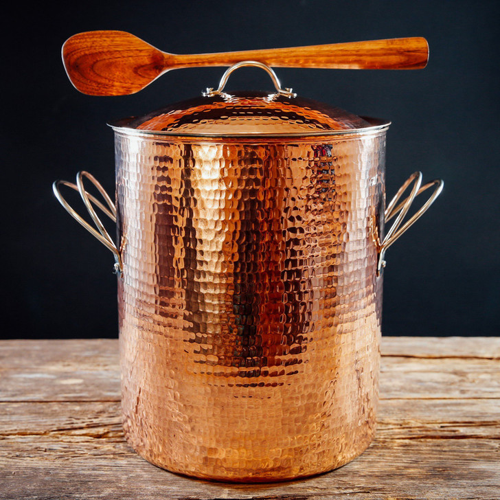 Handmade Hammered Copper Stockpot with Lid and Spoon Rest Handles (Polished)