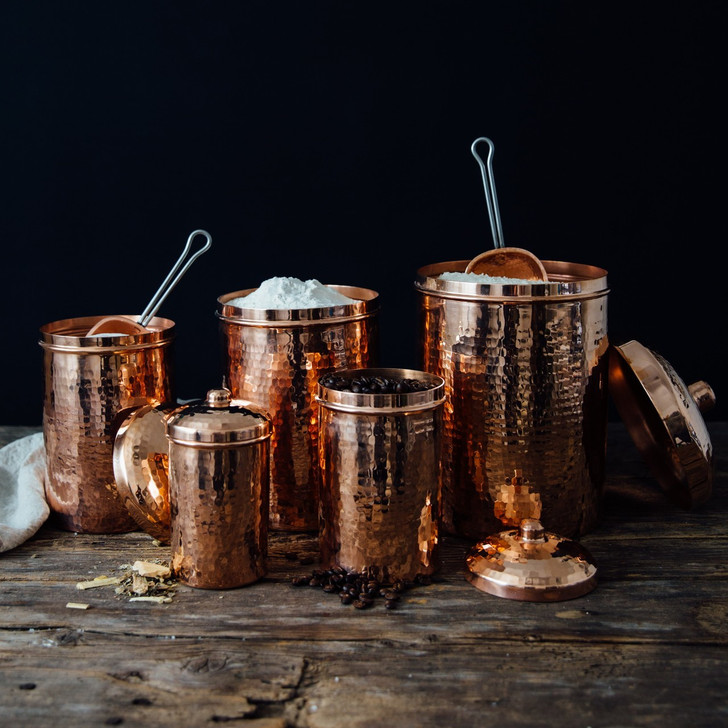Handmade Hammered Copper Kitchen Canisters Set or Singles (Polished)