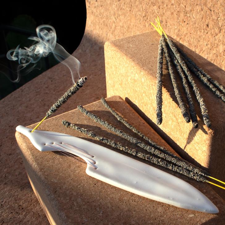 Alina Stitched Ceramic Incense Holder, White