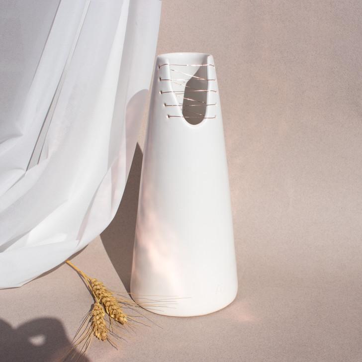 Handmade Alta Stitched Ceramic Cone Vase