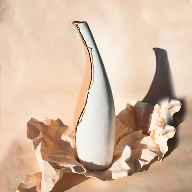 "Aya Handmade Ceramic Vase, Tall Boho 16"" Inches"