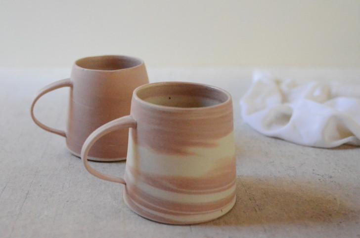 Coral Marble Flared Ceramic Mug