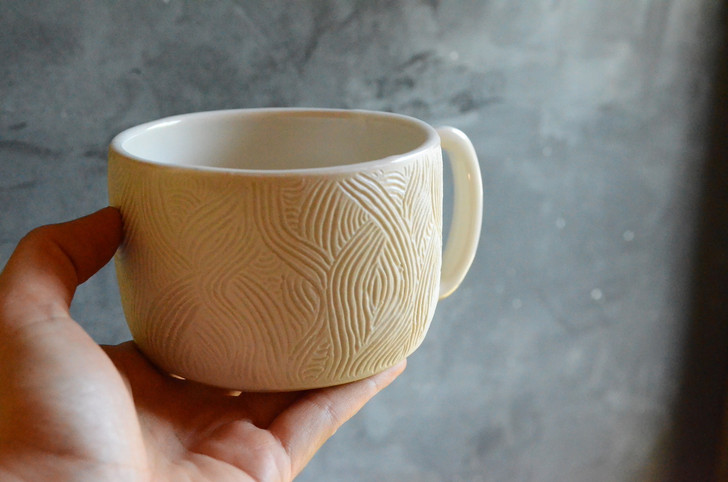 Hand-Carved Ceramic Mug, White
