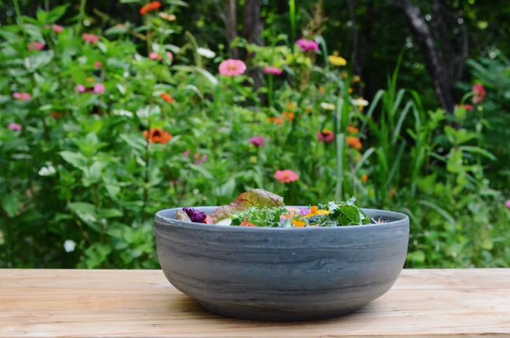 Black Marble Ceramic Serving Bowl