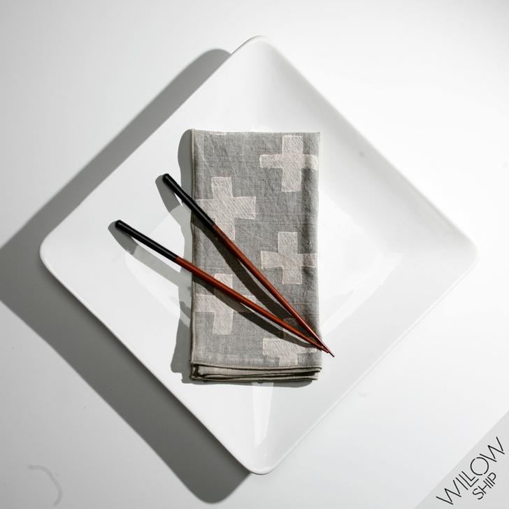 PLUS Block Printed Natural Linen Dinner Napkins, Cream