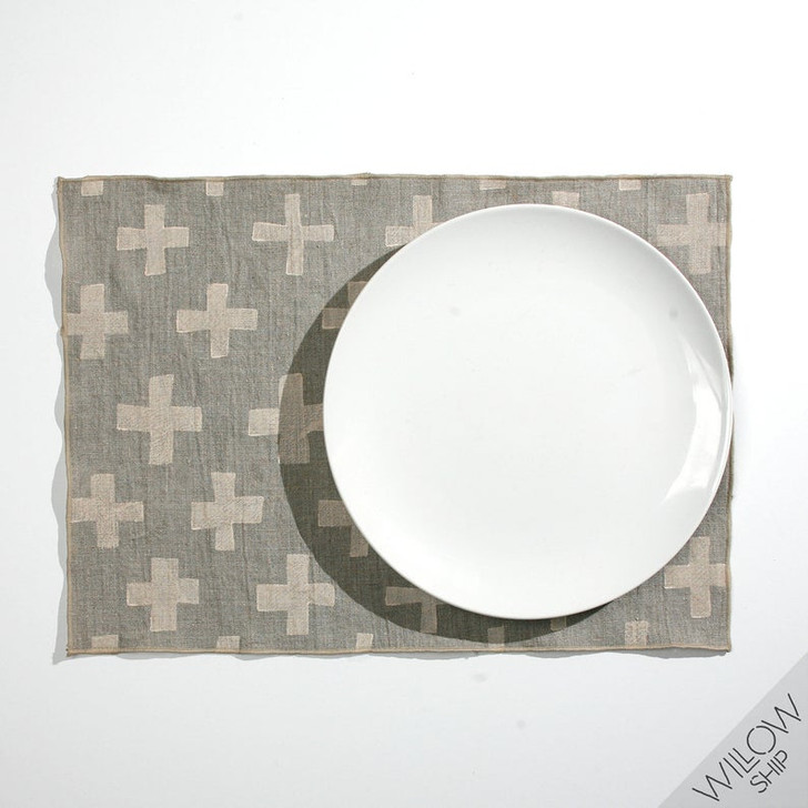 PLUS Block Printed Natural Linen Woven Placemats, Cream/Gray