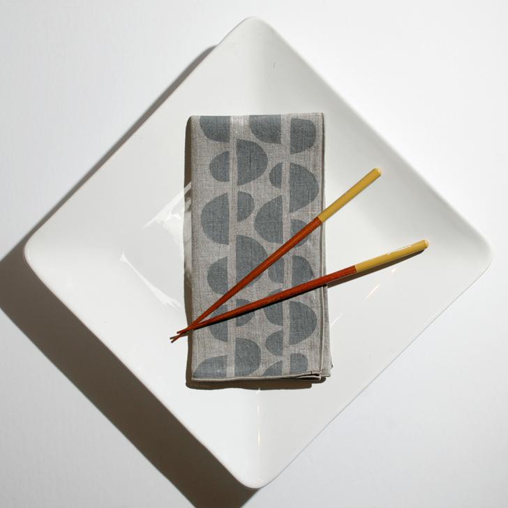 Half Moons Block Printed Natural Linen Dinner Napkins, Gray
