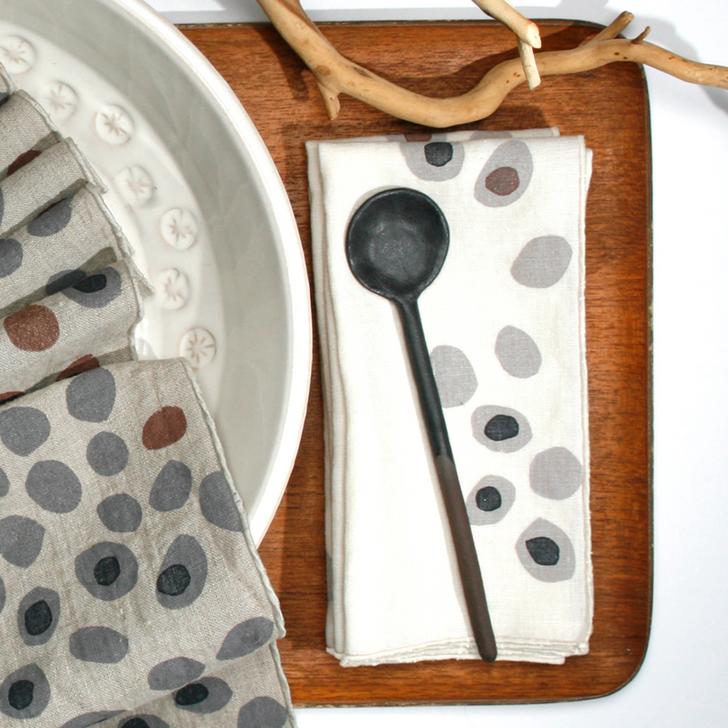 Pebbles Block Printed Natural Linen Dinner Napkins, White